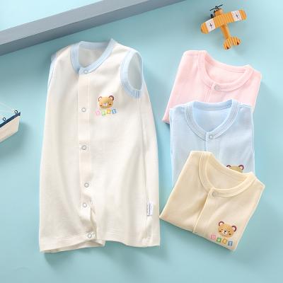 龍之涵(LONGZHIHAN)寶寶無袖連體衣夏季新生嬰兒純棉背心哈衣嬰童爬服