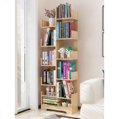 書架落地簡易客廳實木樹形置物架兒童簡約小型書柜收納省空間家用