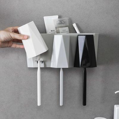 卫生间牙刷置物架壁挂式免打孔洗漱杯套装刷牙杯收纳架挂墙漱口杯