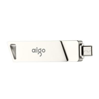 爱国者(aigo)U385 256G手机U盘 高速Micro USB USB3.0 双接口OTG 精耀系列 银色
