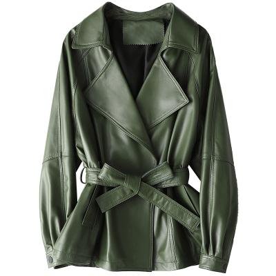 憨厚皇后 2019海寧春季新款綿羊皮女士真皮皮衣韓版時尚修身外套X