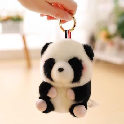 【精品好貨】可愛倉鼠書包掛件熊貓兔子小公仔包包吊墜毛絨玩具小號娃娃女 黑白熊貓 13厘米球球掛件