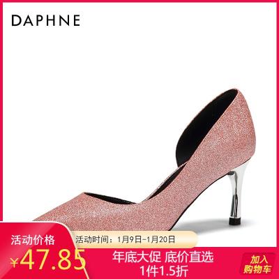 Daphne/达芙妮OL通勤侧空浅口高跟尖头婚鞋单鞋女1018102038