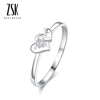 ZSK珠寶 心心相印白18K金鉆石女戒 求婚訂婚結婚鉆戒 時尚鉆石戒指 凈度20分以下不分級顏色I-J級