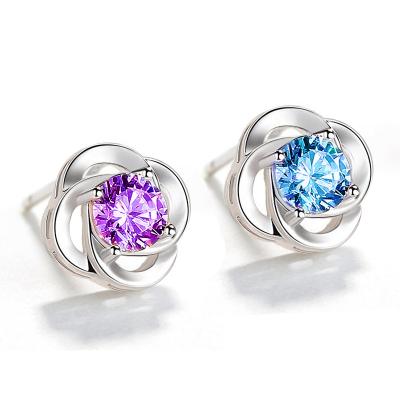 奧沃姿女士925銀四葉草耳釘 簡約女款純銀耳飾耳環不易過敏情人節禮物