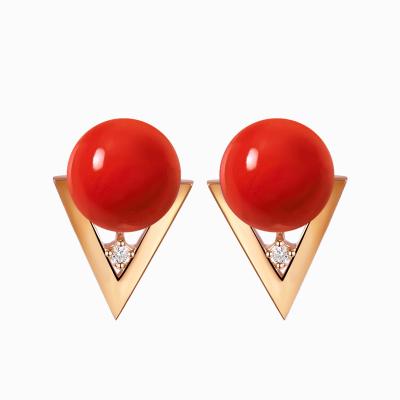 鑫萬福 幾何 6-7mm 18K金沙丁紅珊瑚耳釘/珊瑚耳飾/珊瑚耳環