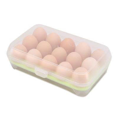 致集佳 雞蛋收納盒 冰箱雞蛋盒 食物保鮮盒 雞蛋托 廚房透明塑料盒子 15格放雞蛋的收納盒 儲物箱 雞蛋儲物盒