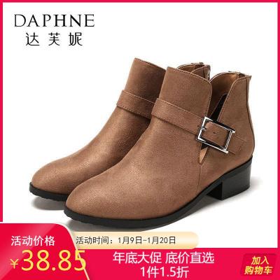鞋柜旗下杜拉拉粗跟短靴女金属扣饰中跟靴子女1717505084