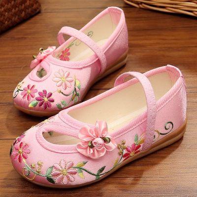 新款兒童布鞋女童繡花鞋民族風寶寶公主鞋學生古裝表演出鞋 莎丞