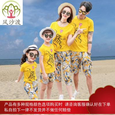 潮亲子装一家三口四口网红夏装全家福沙滩装海边度假图片件数为展示