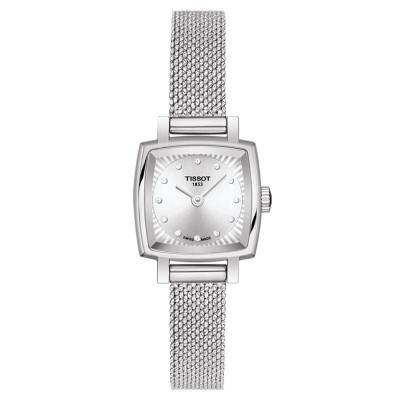 天梭(TISSOT)瑞士手表女 樂愛系列 知性優雅 商務小巧方盤石英表女士鋼帶石英女士手表