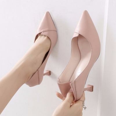 高跟鞋女學生韓版細跟春夏季時尚百搭5cm貓跟單鞋女 【一鞋兩穿】 諾妮夢