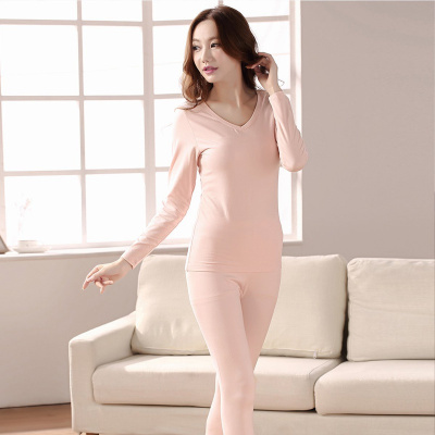 都市麗人簡約時尚性感V領情侶同款秋衣秋褲女士保暖內衣套裝1W9116