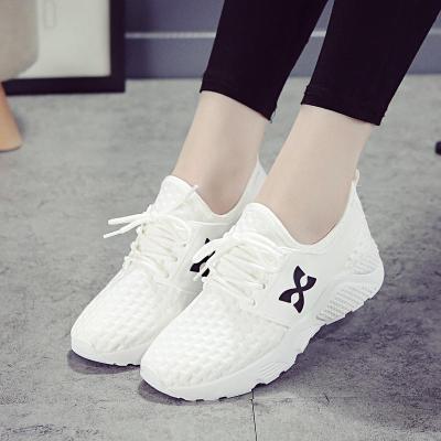 白色運動鞋女春夏季韓版透氣網面休閑學生女鞋單鞋輕便平底跑步鞋