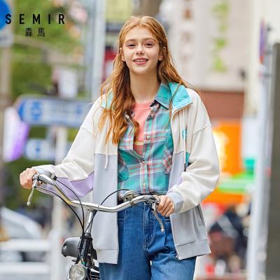 森馬2020春季新款立領撞色寬松針織外套oversize潮流夾克女