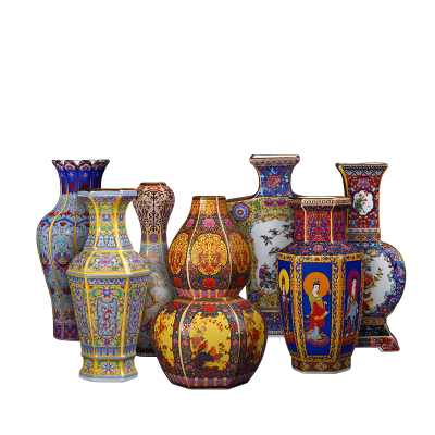 每日精進(enhancement)青景德鎮陶瓷器花瓶擺件客廳插花仿古中式琺瑯彩瓷瓶家居裝飾工藝品