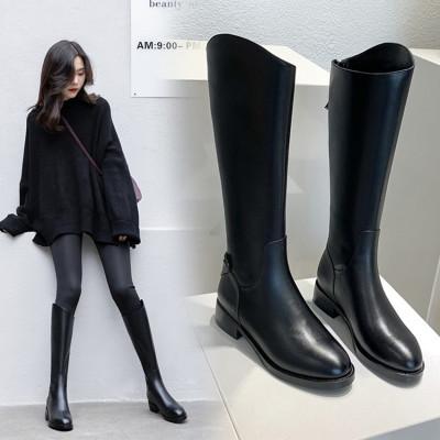 梵蒂加(VENTIGA)女靴OXLR-W051经典牛皮长筒靴骑士靴秋冬新款平跟高筒靴粗跟平底后拉链直筒靴子