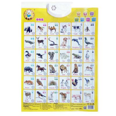 汉语拼音有声挂图幼儿童认知启蒙早教发声2周岁以上宝宝看图识字塑料玩具字母表 动物乐婷美欣