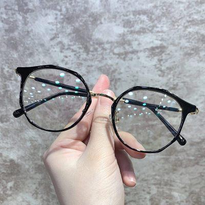復古圓框近視眼鏡女素顏電腦防輻射抗藍光平光護眼睛架男網紅款潮