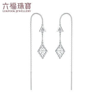 六福珠寶 Pt950波西米亞幾何圖案鉑金耳環女款耳飾 計價 GCPTBE0010