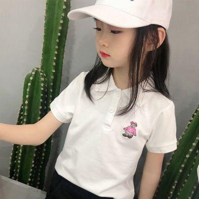 兒童2020夏裝新款女童短袖T恤學生POLO衫寶寶夏季童裝小熊短T翻領莎丞(SHACHEN)