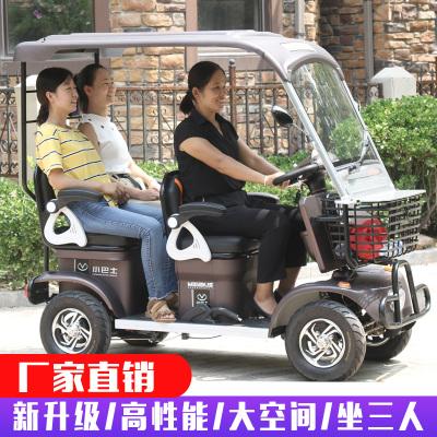 電動小巴士老年代步車家用接送孩子老人半封閉帶棚四輪電動電瓶車