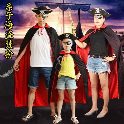 圣誕節萬圣節披風兒童海盜演出服裝成人男女士黑紅斗篷Cosplay表演衣服