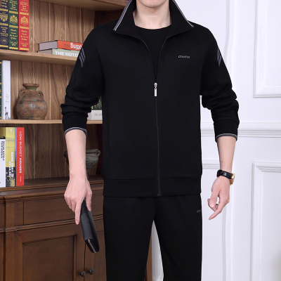 卡闲KAXES 原版正品棉 中年男装长袖长裤秋季纯棉休闲套装中老年宽松加大码三件套爸爸装