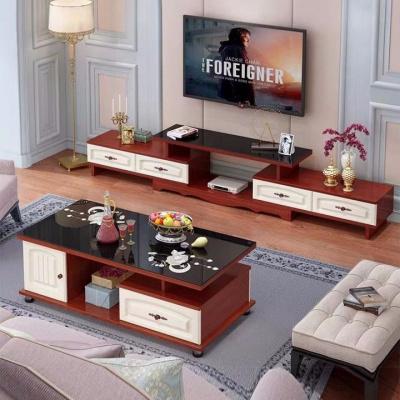 圆角欧式电视柜茶几桌组合小户型钢化玻璃茶几桌简约伸缩电视机柜