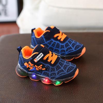 春秋童鞋兒童光鞋男童跑步鞋寶寶閃光單鞋女童LED亮燈運動鞋 莎丞