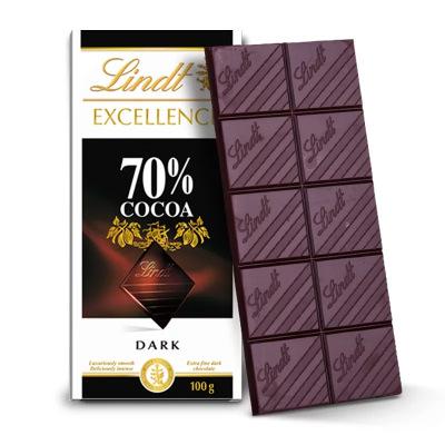 原裝進口 瑞士蓮Lindt特醇可可黑巧克力排塊裝 70%可可黑巧克力100g