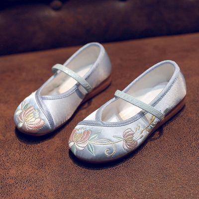 兮柔兒童繡花鞋古裝女童漢服鞋中國風女寶寶古代老北京手工布鞋旗袍鞋