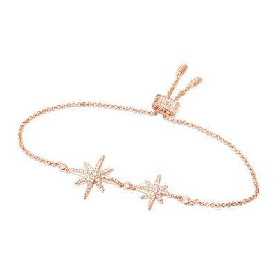 APM MONACO 女士 粉金色八芒星造型S925純銀鑲晶鉆雙流星手鏈 RB3325OX