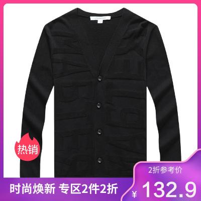 【3折價:132.9】馬克華菲新款休閑V領開衫男式針織衫