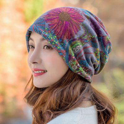 HKLM花朵帽子女秋冬天韓版保暖休閑套頭帽兩用帽圍脖套護耳帽包頭帽