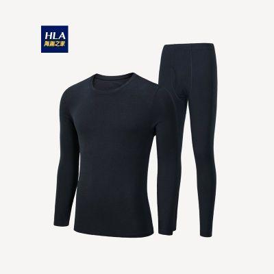 HLA海瀾之家男裝圓領內衣套裝貼身舒適基礎男士棉毛衫_HUTAJ3R022A