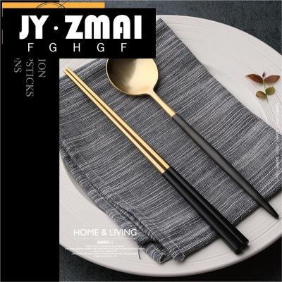 家用筷勺餐具套裝 304不銹鋼黑金色筷子勺子創意歐式旅行便攜dxg-jh01定制