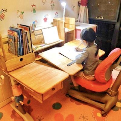 智扣創想兒童書桌實木可升降學習桌學生寫字臺簡約寫字桌椅套裝家具