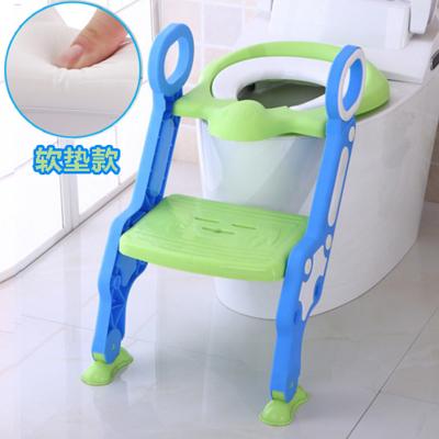 Amyoung大號折疊兒童馬桶梯男女寶寶坐便器小孩馬桶圈凳兒童馬桶蓋坐便圈環保pp便盆/坐便器 綠色(升級軟墊款)