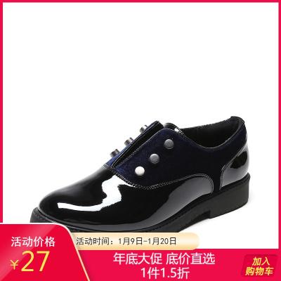 鞋柜女鞋新款深口漆皮平跟单鞋铆钉圆头女鞋1117404205