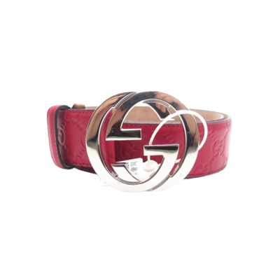【二手95新】GUCCI/古驰 Signature红色银头双G腰带中性85*3.4cm