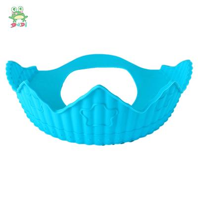 DuDi/青蛙嘟迪 母嬰幼兒童趣味硅膠兒童防水護耳幼兒小孩洗澡洗頭發浴帽可調節 天空藍