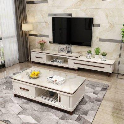 现代简约大理石电视柜茶几组合套装 可伸缩客厅影视柜北欧小户型定制!