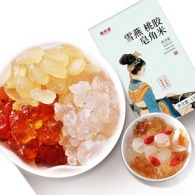 固本堂桃膠雪燕皂角米組合150g盒裝天然野生特級正品桃膠