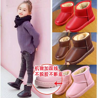 tyburn防水儿童雪地靴女童短靴男童靴子2019冬季新款加绒宝宝棉鞋防滑潮