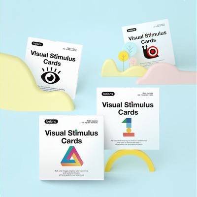 貝恩施 黑白視覺激發卡片 新生嬰兒早教閃卡彩色 4盒裝 0~36個月 嬰幼兒視覺發育卡【4盒裝/80張】4.30日前發貨