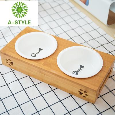 狗碗貓碗陶瓷木架雙碗寵物泰迪食盆喂食飲水碗貓咪狗食盆寵物用品zy