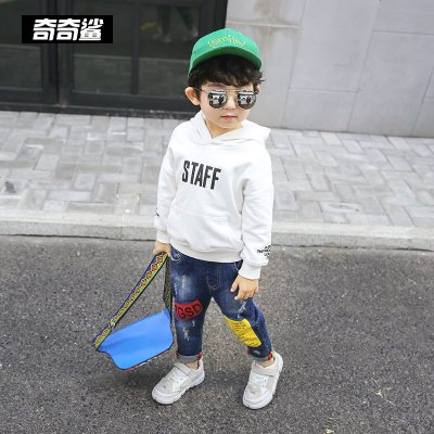 男童白色衛衣春秋款2019新款小童寶寶兒童洋氣秋季連帽上衣潮童裝