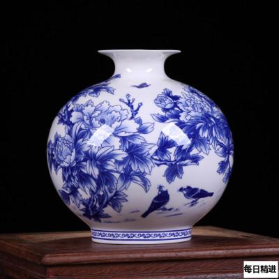 每日精進 景德鎮陶瓷器青花骨瓷榮華富貴花瓶 家居裝飾花瓶工藝品擺件 石榴瓶
