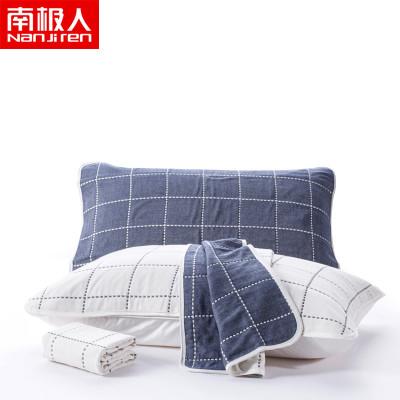 南极人(NanJiren)家纺 加厚六层纱布纯棉枕巾一对装 床上用品50x80cm全棉单人枕头巾条纹/格子枕芯巾两只装